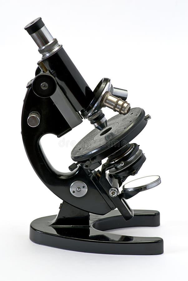 Old optical microscope isolated stock image