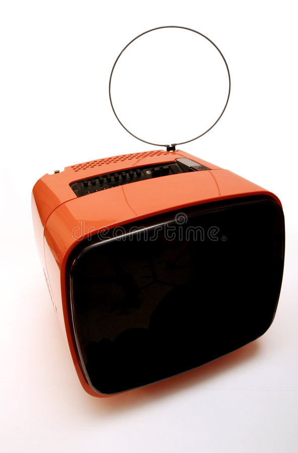 Download Old Orange 80's TV - View 5 Stock Photo - Image: 7562238