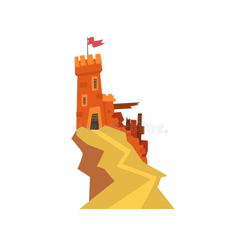 Free Old Orange Fortress With Destroyed Wall On Top Of Hill. Castle With Iron Grating On Entrance And Windows. Fluttering Red Stock Photos - 105522053