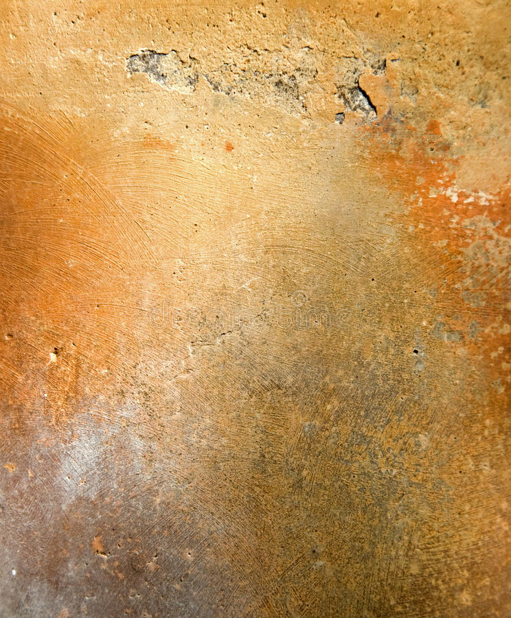 Old orange pottery surface texture. In Mexico stock photography