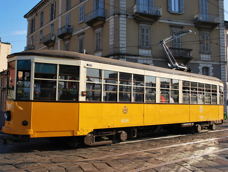 Old orange tram royalty free stock images