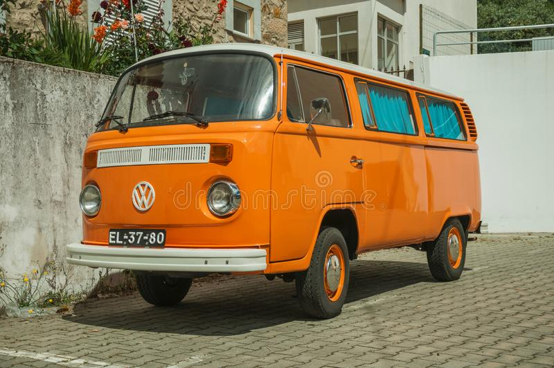 Old orange Volkswagen van perfectly preserved stock photo