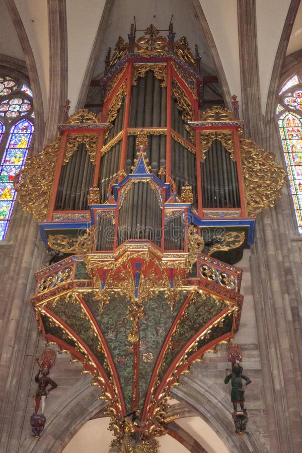 Old organ inside the cathedral of Strasbourg in Alsace France. Strasbourg France 10-15-2018. Old organ inside the cathedral of Strasbourg in Alsace France stock image