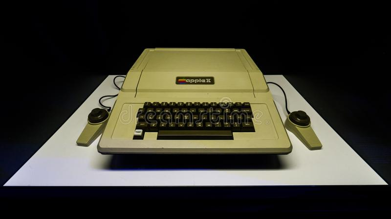 Old original Apple II Mac computer with keyboard on display in Istanbul, Turkey, in Digital Revolution exhibition stock photos
