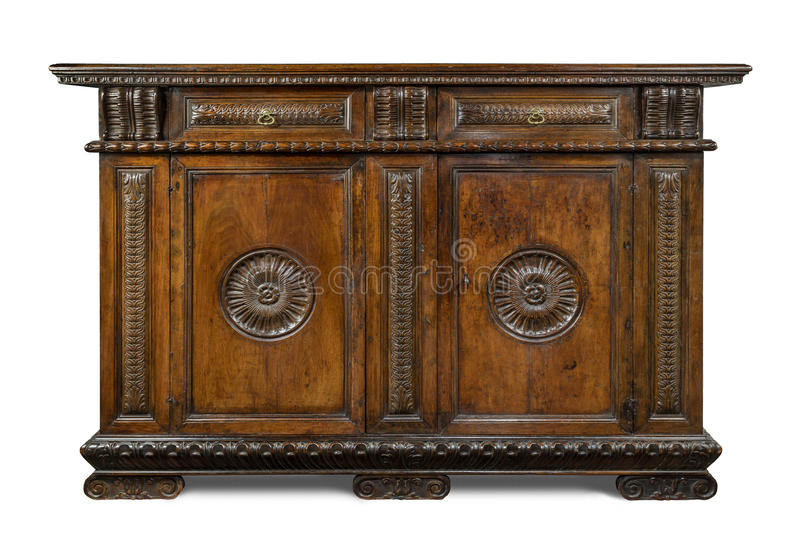 Old original Italian vintage wooden carved sideboard buffet cabi royalty free stock photos