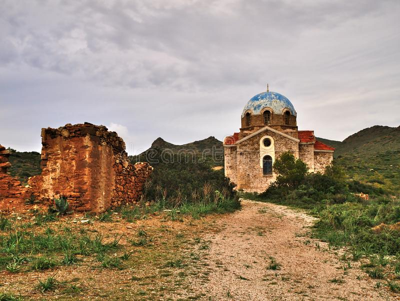 Old orthodox church and ruins. stock photo
