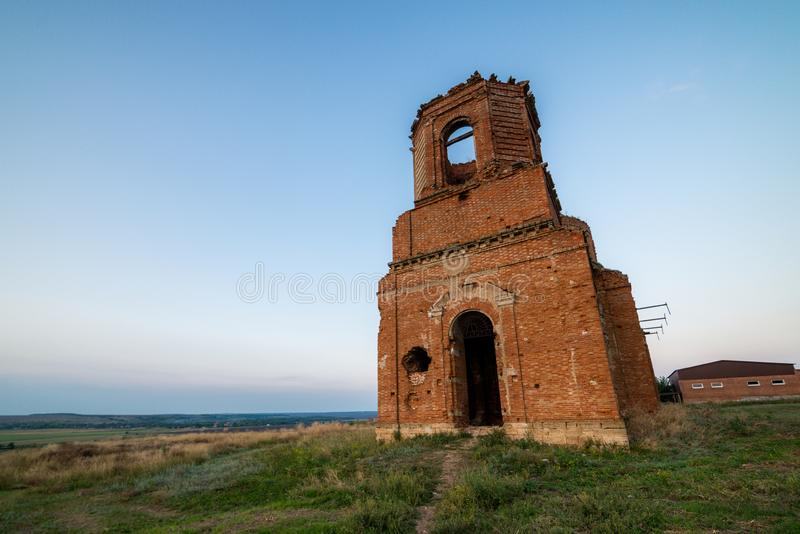 Old orthodox church ruins. Abandoned religionic building stock photos