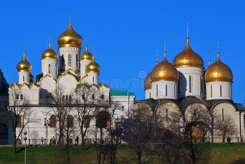 Old orthodox churches of Moscow Kremlin. Old orthodox churches of. Moscow Kremlin, UNESCO World Heritage Site. Blue sky background royalty free stock photo