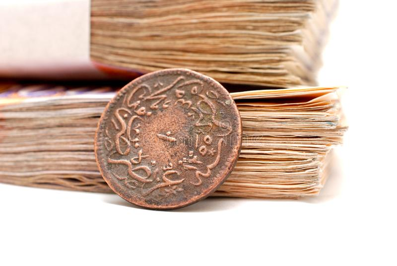 old ottoman coin and paper banknotes stock photo
