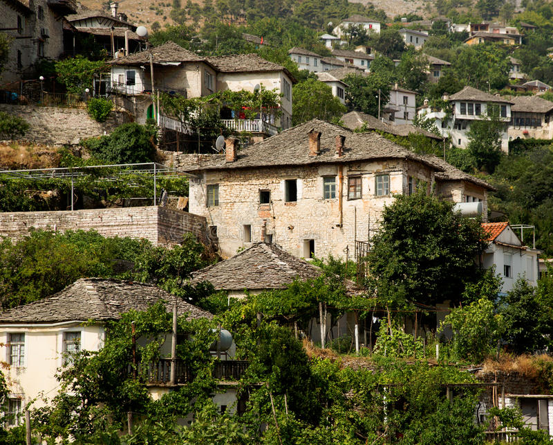 Old Ottoman houses of Gjirokastra, Albania royalty free stock photo