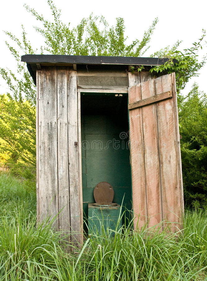 The old outhouse stock photo
