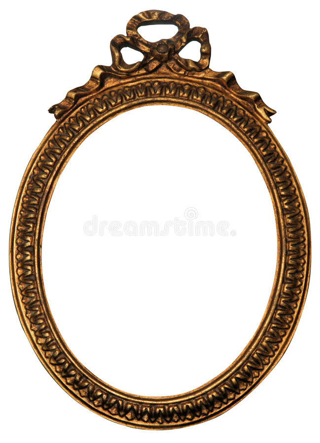 Old Oval Gold Wood Mirror Frame with Ornaments. Baroque Oval Gold Mirror / Picture Frame with Ornaments to put your owns pictures on it. File contains clipping stock photo