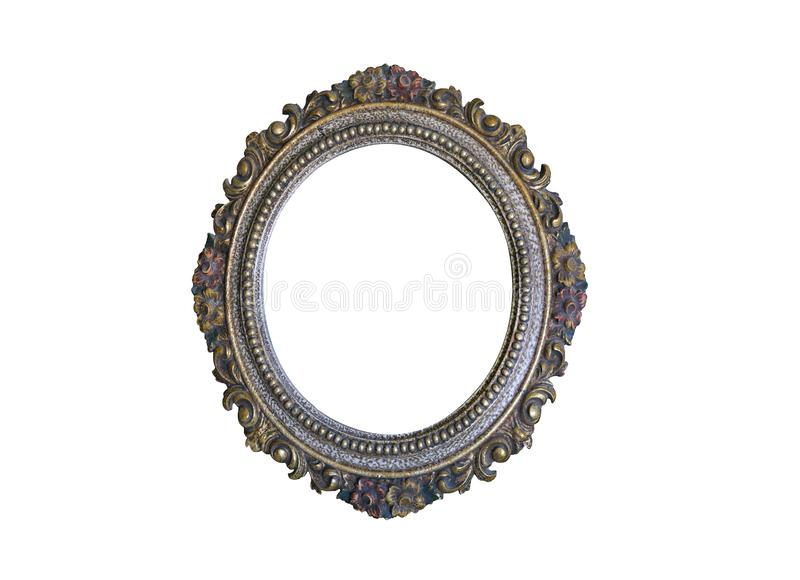 Old oval golden frame royalty free stock photo
