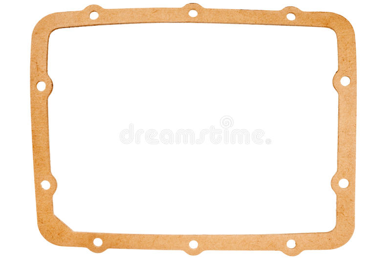 Old oval paper gasket. Isolated on white background stock images