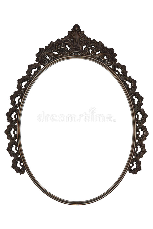 Old oval picture frame metal worked on white background. Old oval picture frame metal worked isolated on white background stock photography