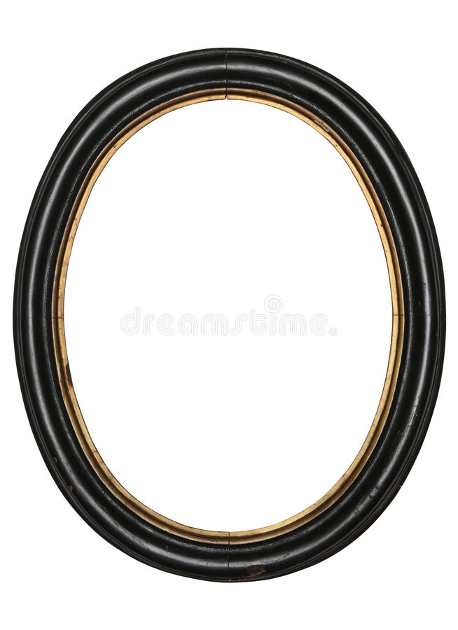 Old oval picture frame wooden isolated white background stock photos