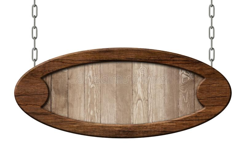 Old oval signpost made of natural wood with brown wooden frame hanging on chains. Old empty oval signpost made of natural wood with brown wooden frame and vector illustration