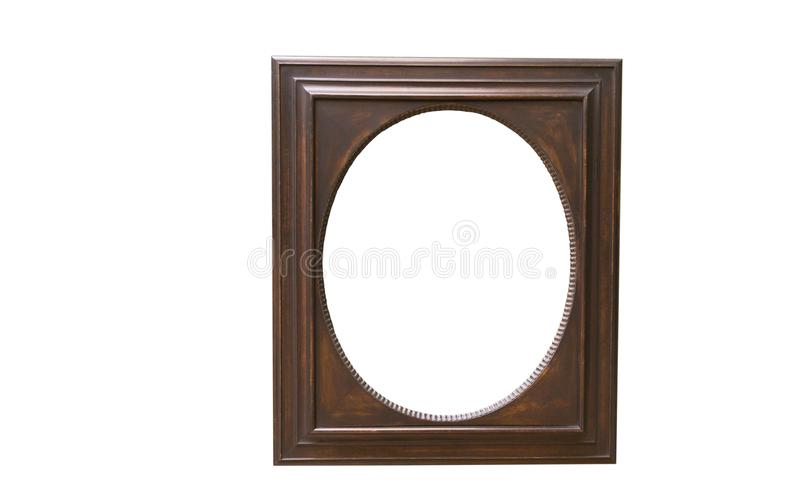 Old oval wooden picture frame. Which was popular when photographs were printed in oval form royalty free stock image