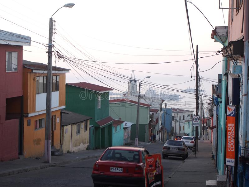 Old Pacific seaport city of Valparaiso, World Heritage Site and cultural capital of Chile. The colonial city of Valparaíso, Chile, enjoyed a privileged status stock photos