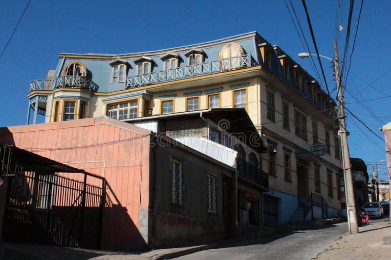 Old Pacific seaport city of Valparaiso, World Heritage Site and cultural capital of Chile. The colonial city of Valparaíso, Chile, enjoyed a privileged status stock image