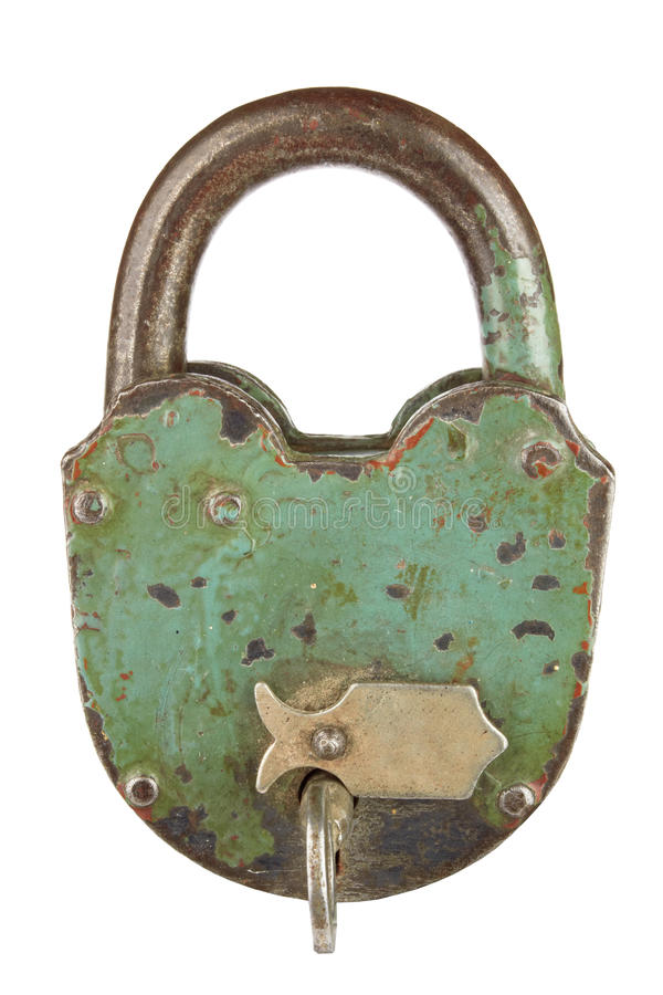 Old padlock. With key on a white background royalty free stock images