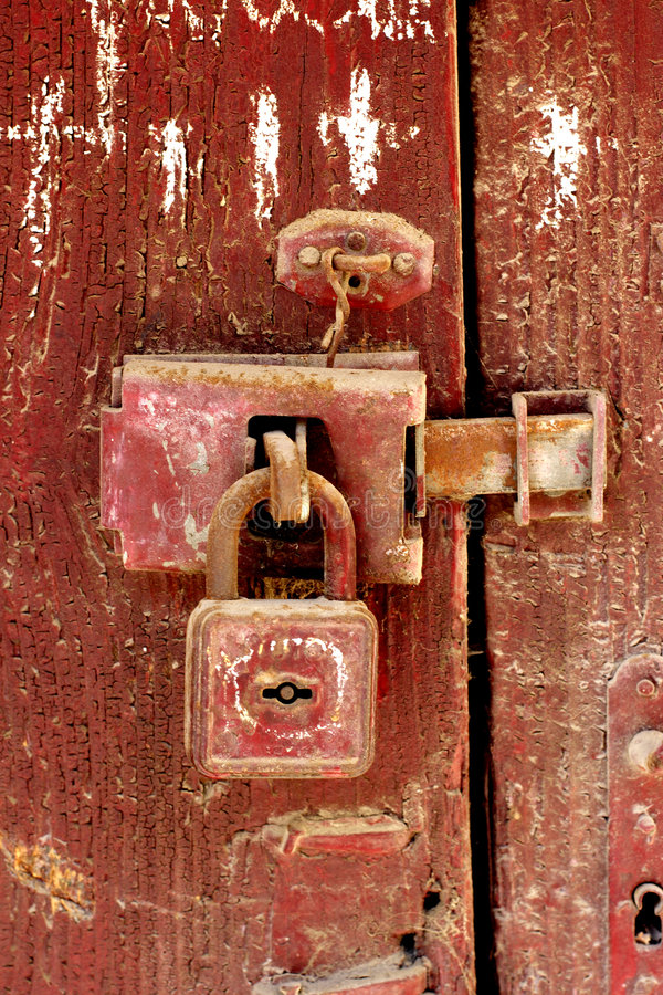 Old padlock stock image