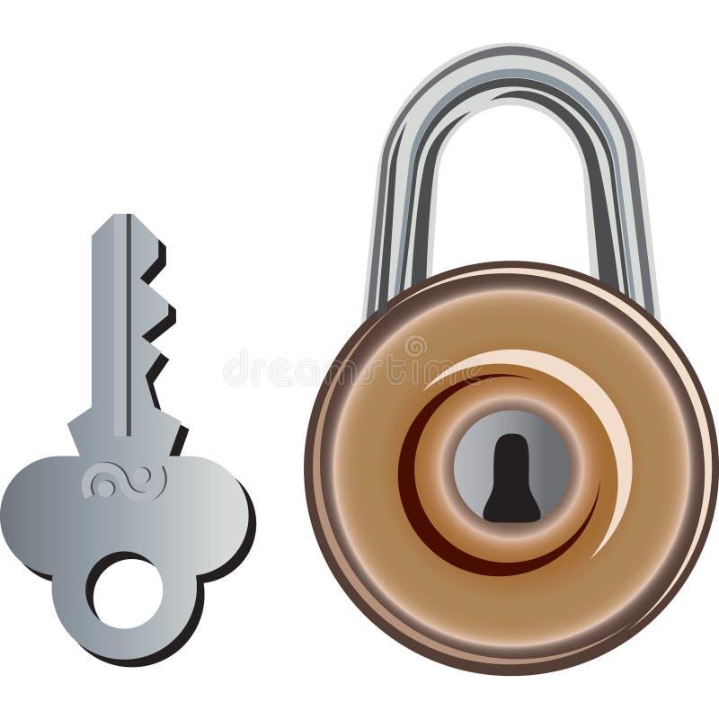 Old Padlock and its key. vector illustration
