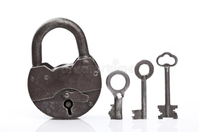 Old padlock and keys. On white royalty free stock images
