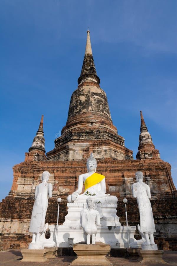 Old pagoda and buddha image in Wat Yai Chaimongkol temple, Ayutthaya Thailand royalty free stock images