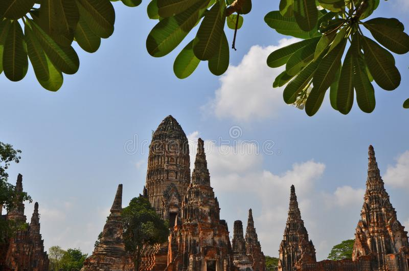 Old pagodas and blue sky behind green leaf foreground stock image