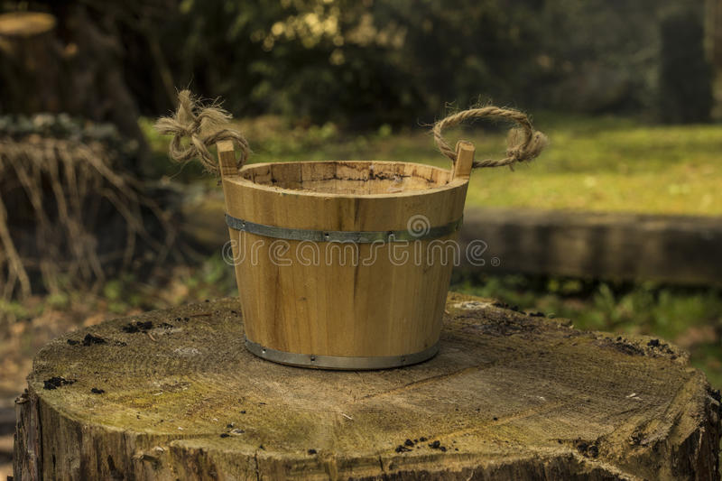 Old pail. On the stump royalty free stock photo