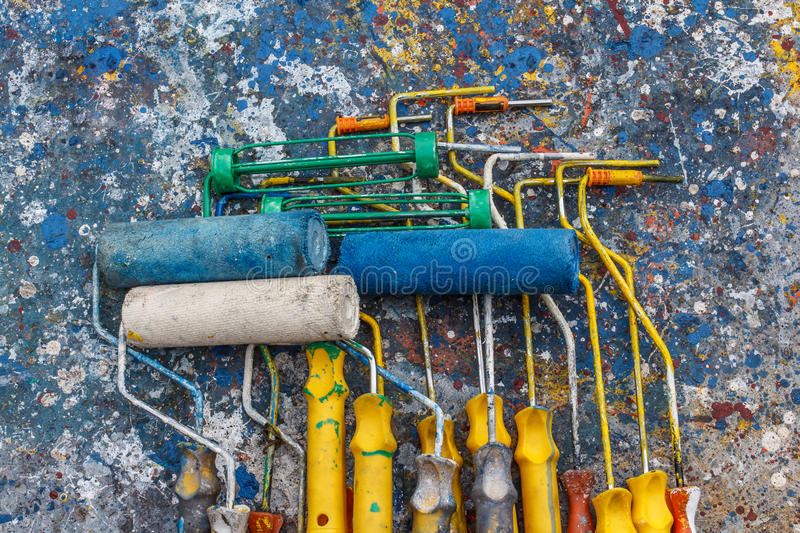 Old paint rollers stock photos