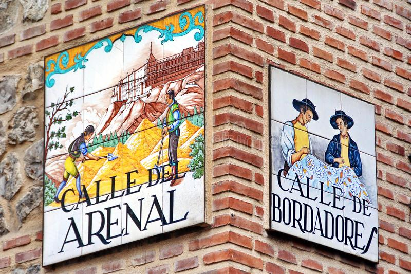 Madrid, Spain. Old painted street name plate royalty free stock photos