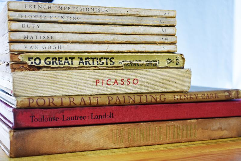 Old Painter Books - Dufy, Matisse, Van Gogh Picasso. Old Painter Books - Dufy, Matisse, Van Gogh, Picasso, portrait painting, french impressionists royalty free stock photos