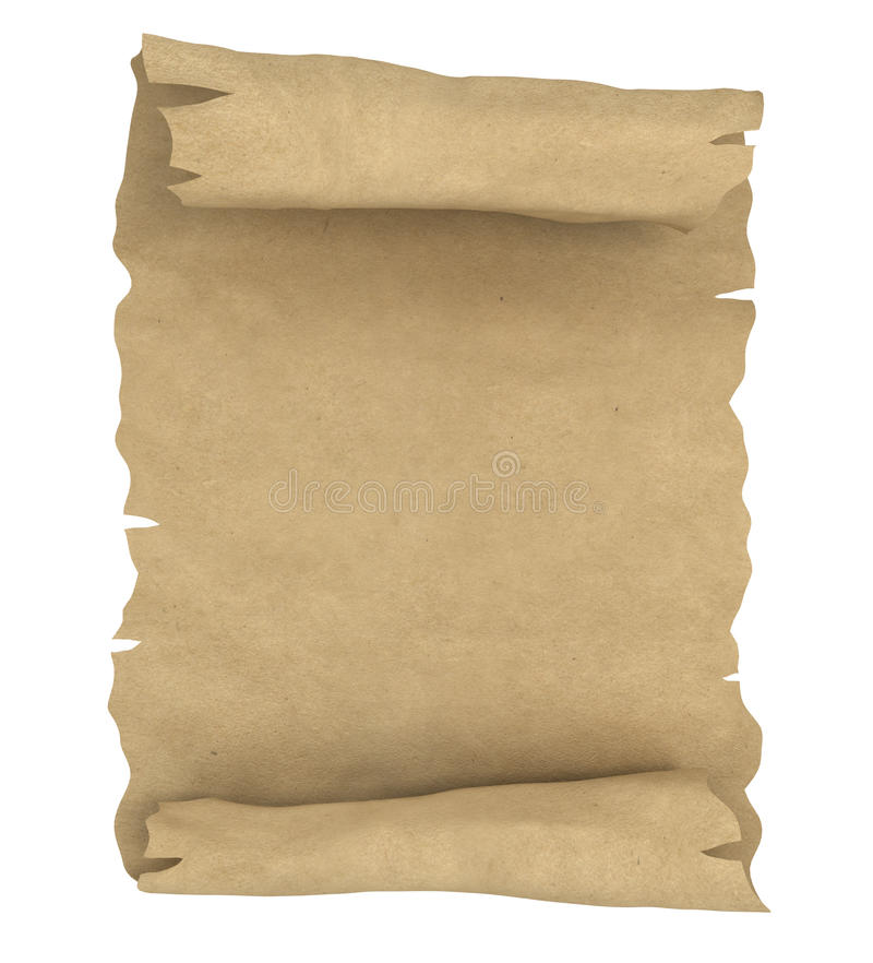 Old papar scroll. Old paper scroll on white royalty free stock photography