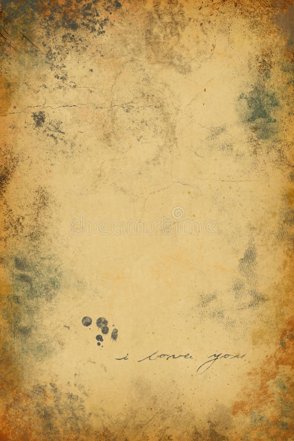 Old paper. Grunge background with i love you label royalty free illustration