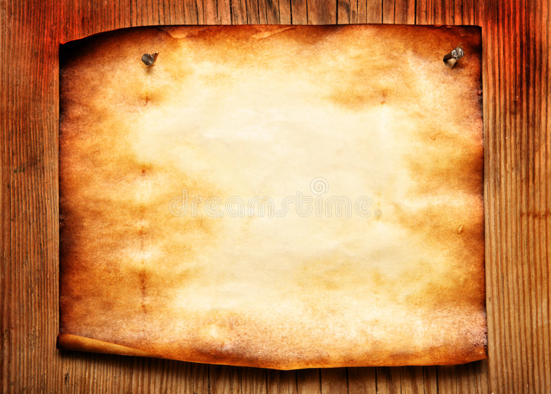 Old paper attached to wooden wall royalty free stock photos