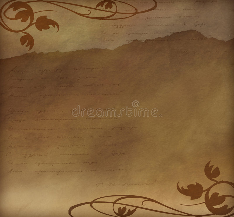Old paper background. With flower vector illustration
