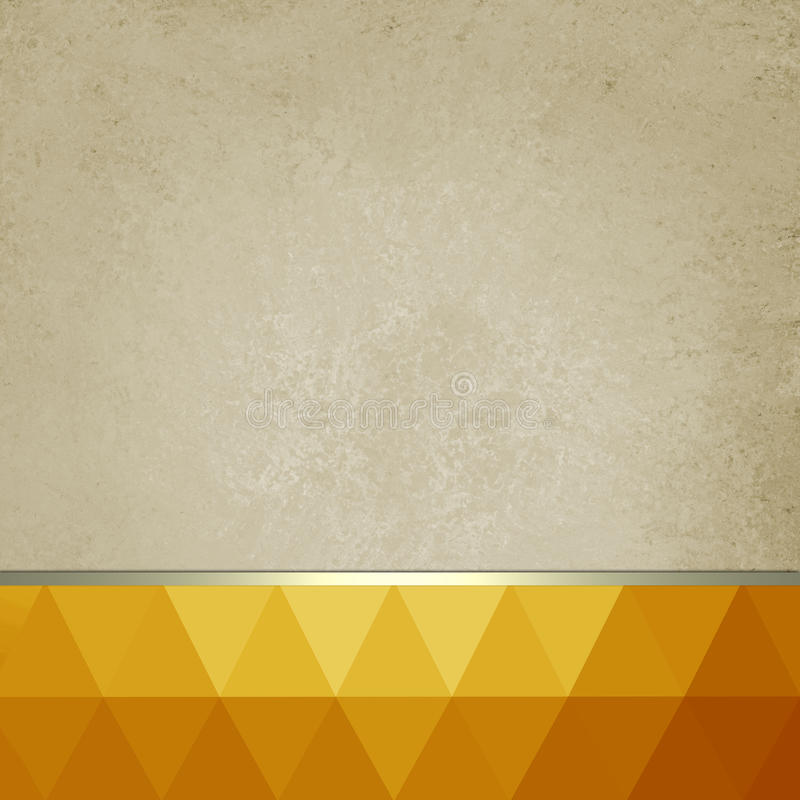 Old paper background with bright orange and gold low poly footer and gold ribbon stock illustration