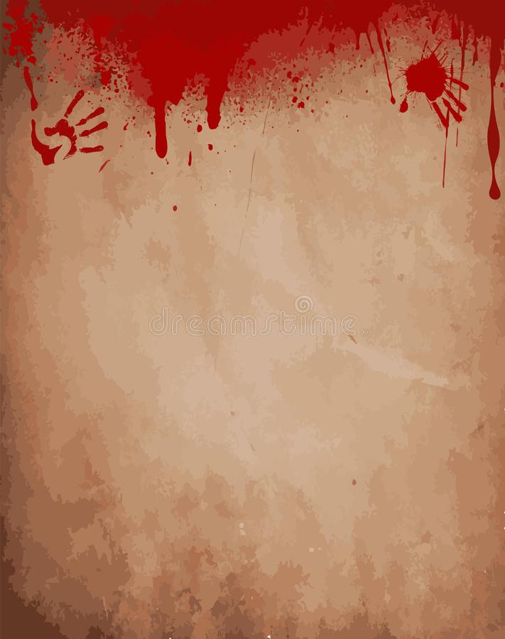 Old paper background with dripping blood, bloody hand prints royalty free illustration