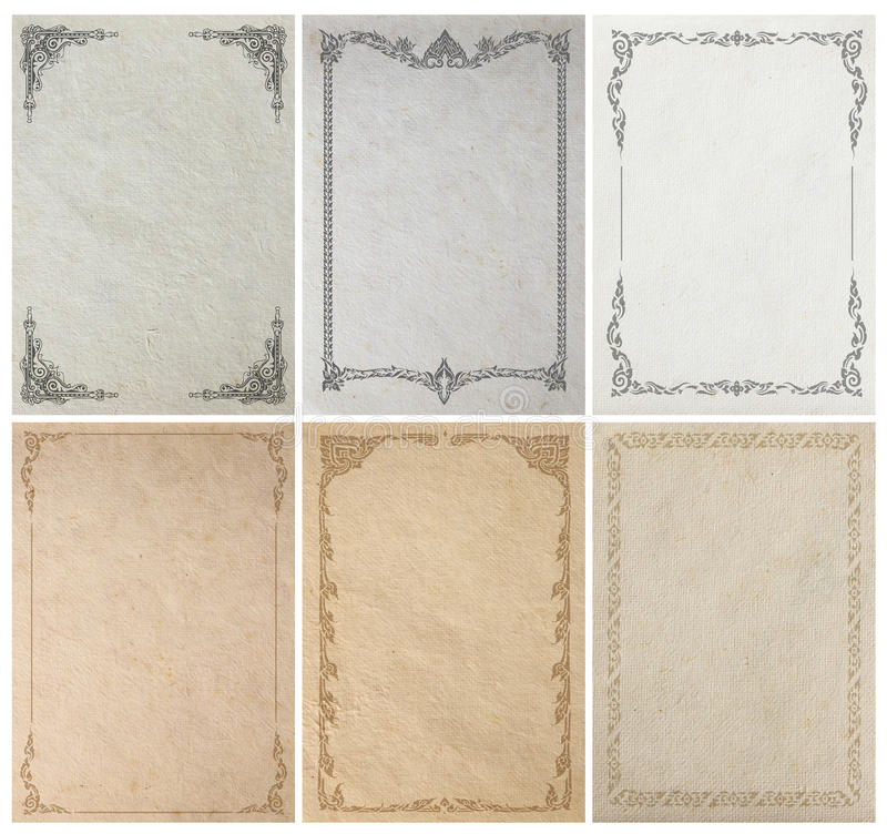 Download Old Paper Background Texture With Vintage Frame Border Stock Photo - Image of blank, deco: 77378636