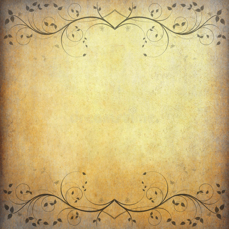 Old paper background with vintage flower royalty free stock photo