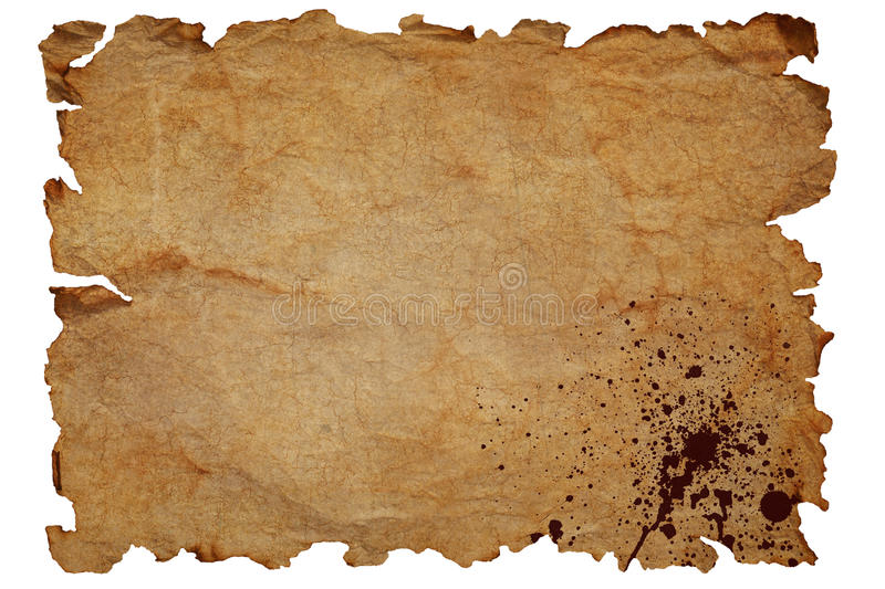 Old paper. Old brown dirty textured paper with blood splatters and damaged edges isolated on white background stock photography