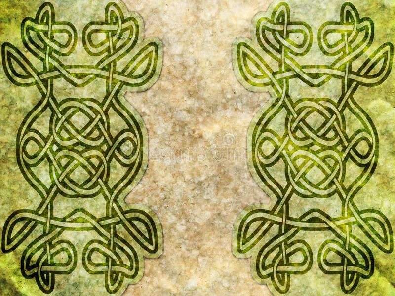 Old paper with celtic pattern. Green and beige stock photo
