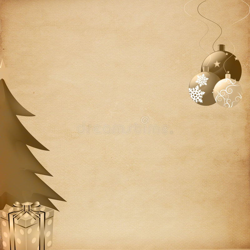 Old Paper on Christmas Background stock illustration