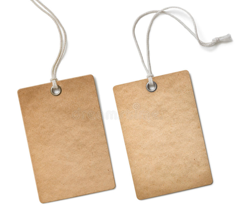 Old paper cloth tag or label set isolated. On white stock images