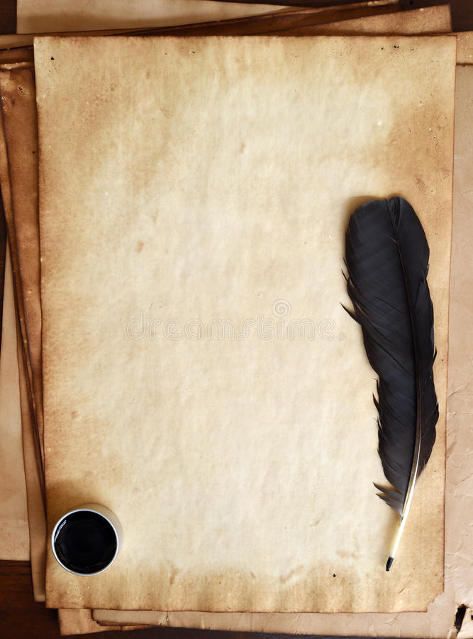 Old Paper With Feather And Ink Stock Photo - Image of