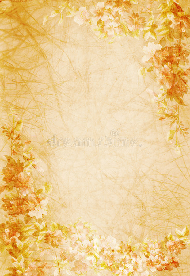 Old paper with floral design. Background royalty free stock images