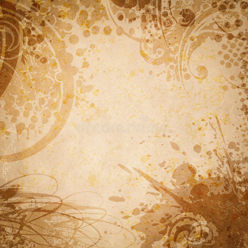 Old paper with floral grunge splatter. royalty free stock photo