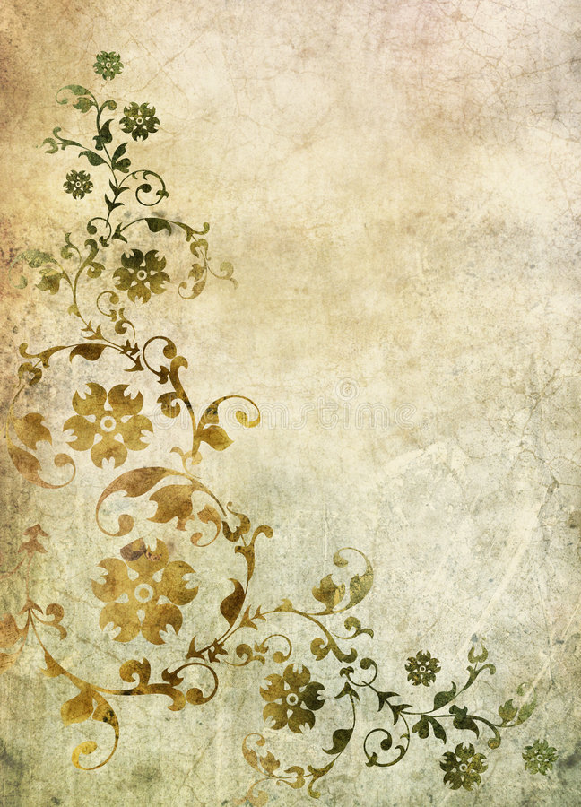 Old paper with floral pattern. Old paper with baroque floral pattern stock illustration